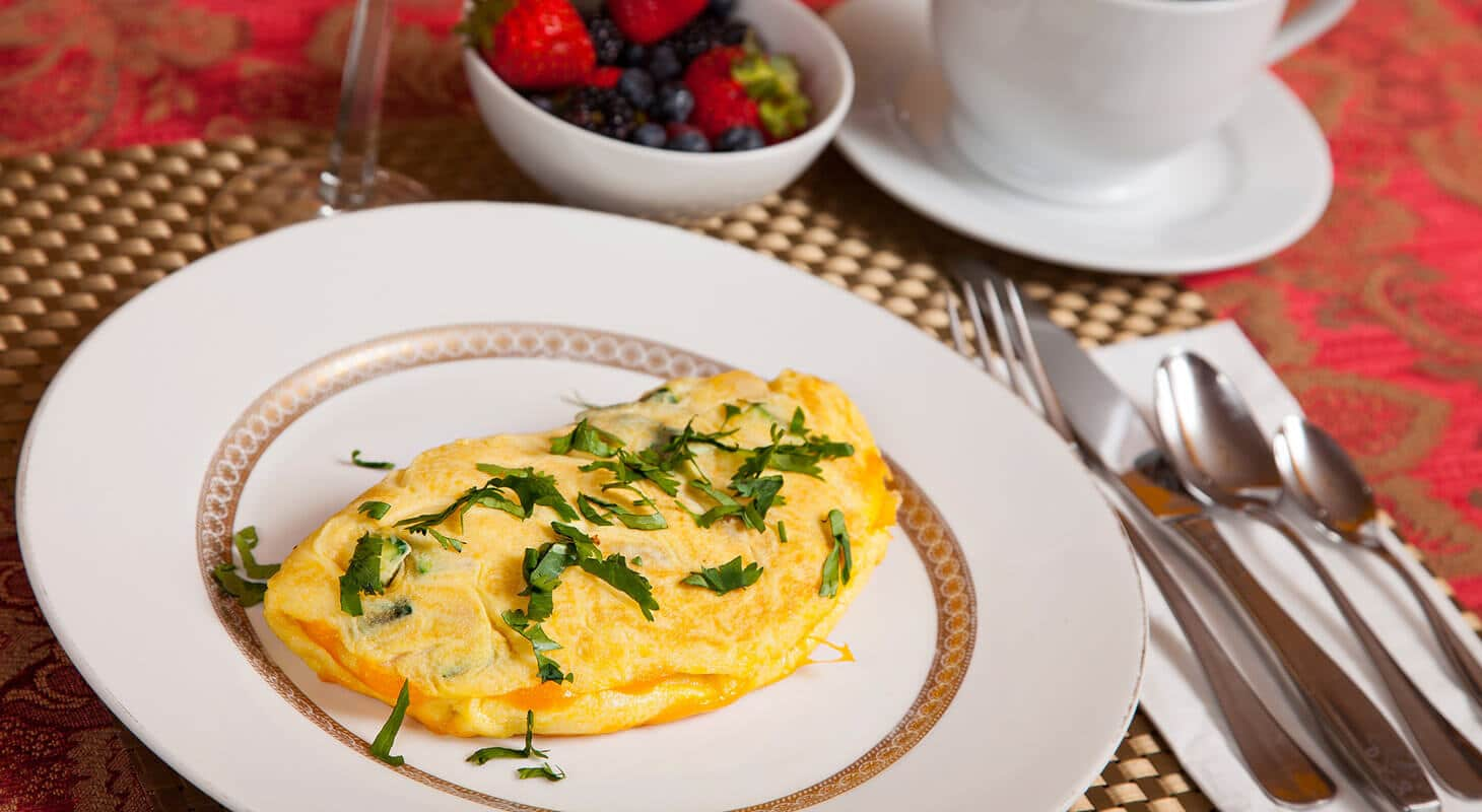 Omelette for breakfast at our DC bed and breakfast