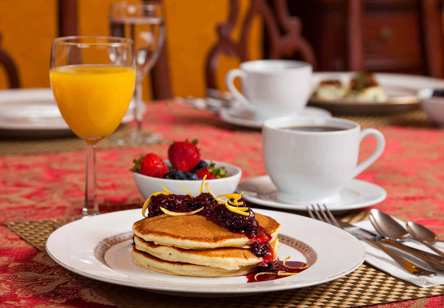 Pancakes with berries breakfast