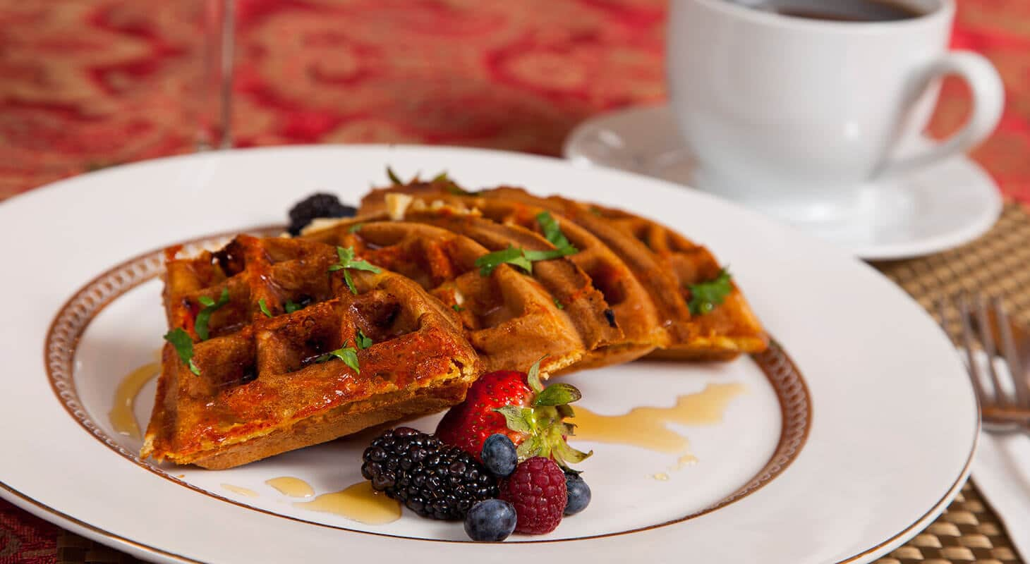 Waffles and berries for breakfast