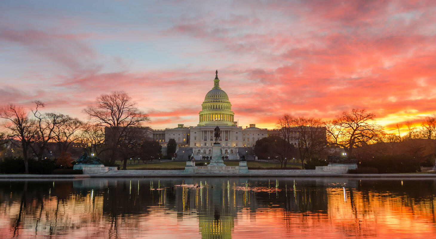 Sunrise behind the U.S. Capitol Building