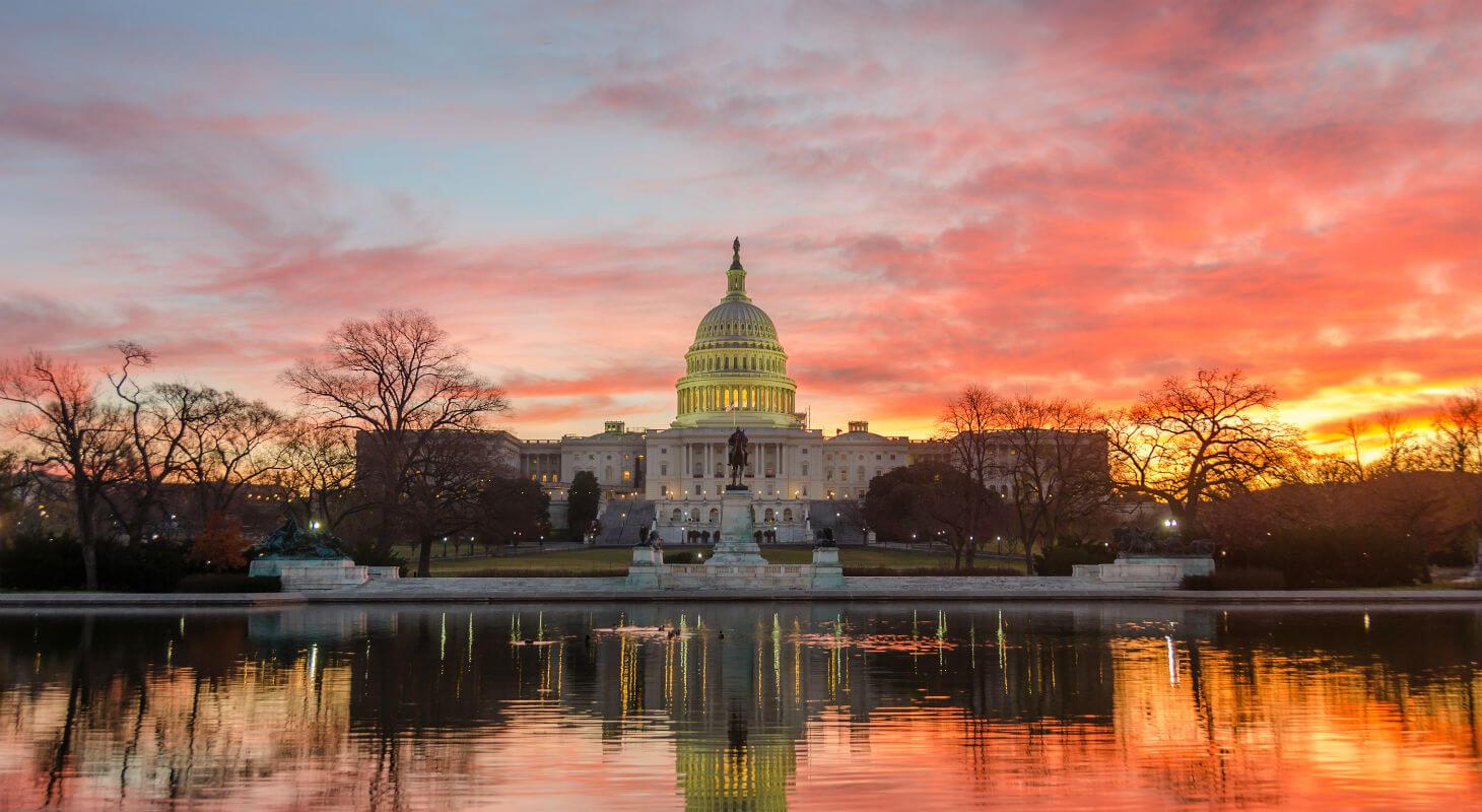 Sunrise behind the U.S. Capitol Building