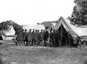 Lincoln Meeting with Generals at Antietam