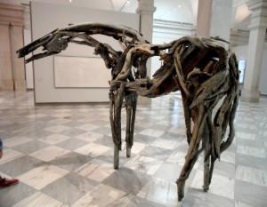 Wooden Horse Skeleton Sculpture