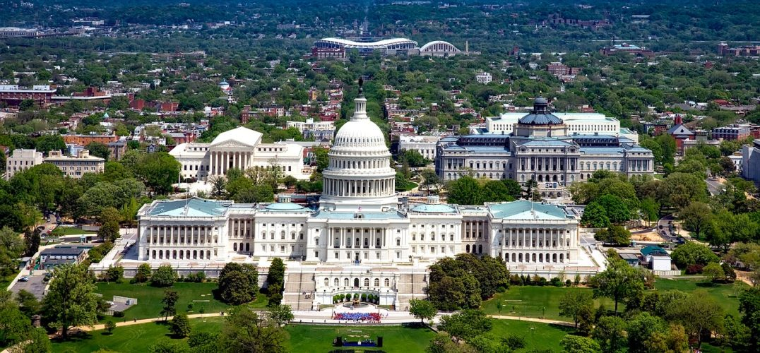 View of the Capitol building from the sky.