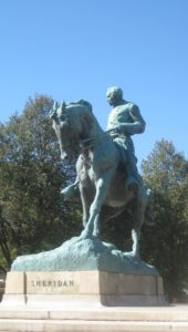 Front view of the Philip Sheridan statue. The name 'Sheridan' is visible at the base of the statue.