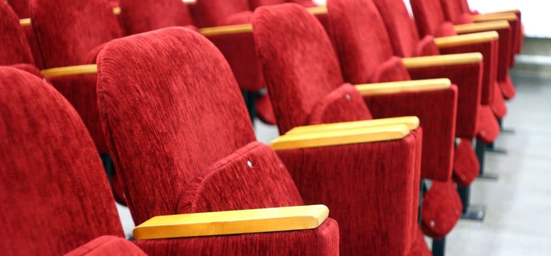 Row of red movie seats