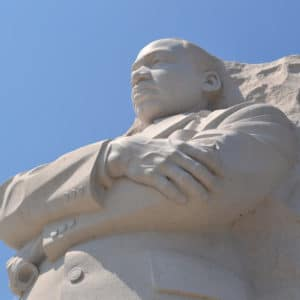 This photo is of the MLK statue at the MLK memorial in Washington D.C.