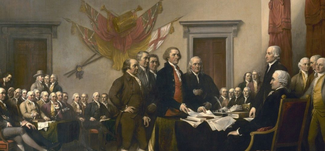 Signers of the Declaration of Independence present their amendments to this document