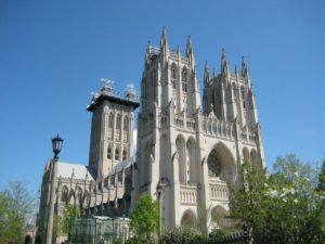 The exterior of Washington National Cathedral is show as trees begin to bloom