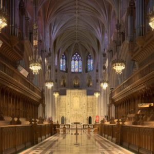 The interior of Washington National cathedral is shown with its magnificent archways and marble floors