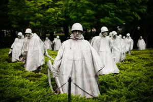 Statues of soldiers who fought in the Korean War are shown