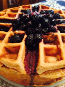 Cherry Waffles with a Blueberry Compote