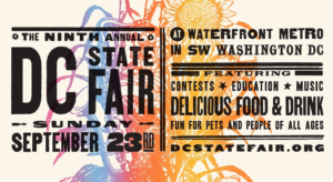 Colorful Washington DC State Fair ticket-like poster