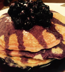 Pink swirl blossom pancakes with a blueberry compote 11