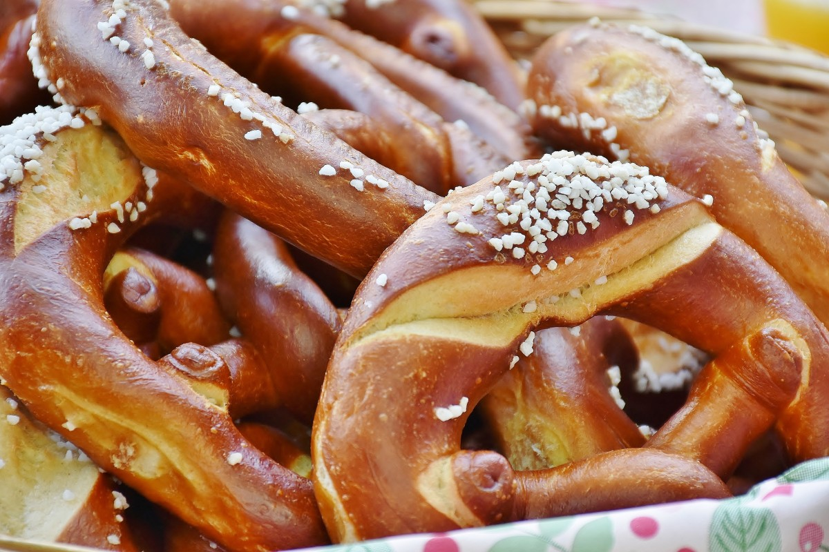 Warm, soft, golden brown baked pretzels topped with chunky salt granules